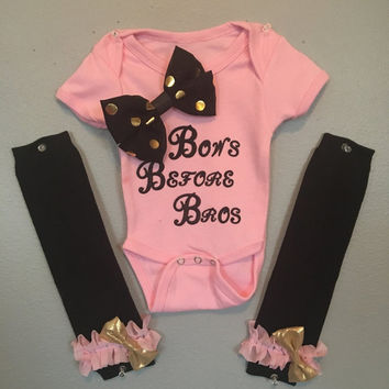 Baby Girl Bows Before Bros Outfit with Leg Warmers