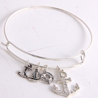 Bangle Charm Bracelet - Anchor - Gold or Silver