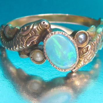 Antique Victorian Snakes with Opal and Pearls Engagement Ring 10K. Eternal Love. Art Nouveau.