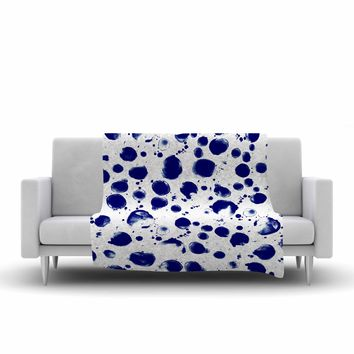 "Nina May ""Navy Water Pebble"" Blue White Painting Fleece Throw Blanket"