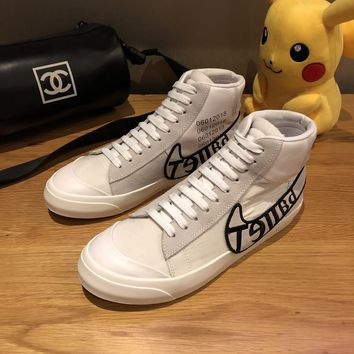 STARBUCKS、POKEMON   Trending Men Women Black Leather Side Zip Lace-up Ankle Boots Shoes High Boots