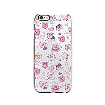 Cute Pink Pig Pattern Transparent Silicone Plastic Phone Case for iphone 7 _ LOKIshop (iphone 7)