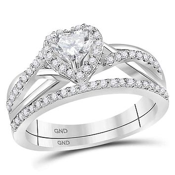 14kt White Gold Womens Heart Diamond Bridal Wedding Engagement Ring Band Set 7-8 Cttw