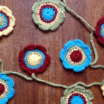 Hand Crochet Garland Small Doily Decoration 12 Flower Doily Bunting Banner Key Lime Pie Green Sunshine Yellow Apple Red Bright Blue