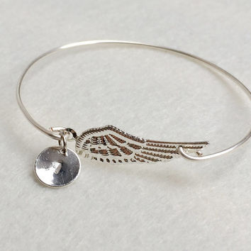 Personalized jewelry for her, Angel wing bangle bracelet, Initial bracelet,personalized bracelet, Kids children, flower girls jewelry, gift