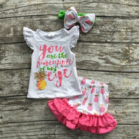 baby girls summer boutique clothes girls you are the pineapple of my eye set  summer ruffle shorts with matching headband