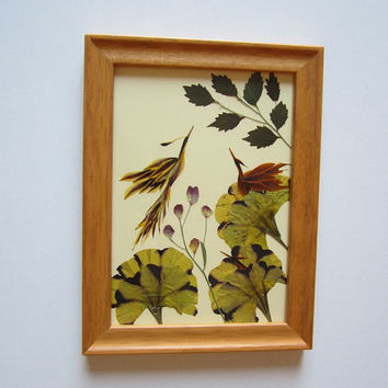 "Unique picture from pressed flowers ""Awakening"" - Pressed flowers art - Original art collage - Home decor wall art - Framed picture."