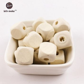 Let's make 12mm Square Shape Wood Beads For Baby Teething Crib Toy DIY Crafts 50pcs Beech Chew Beads