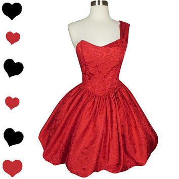 Vintage 80s Dress S Small Red Prom Dance Cocktail Party One Shoulder Bubble Skirt Full Floral Glam Bombshell Valentine Valentine's Day