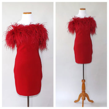 Vintage Fred Hayman Beverly Hills Dress 1980s 90s Ruby Red Ostrich Feather Dress Short Mini Cocktail Dress Giorgio Designer Dress Vegas