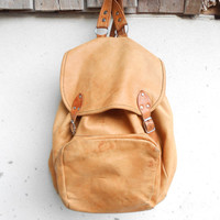 Vintage Tan Distressed Leather Backpack , Rucksack / Medium / Soft Leather / Unisex