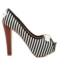 Black & White Stripe Vixen Heels