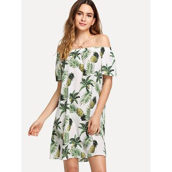 White Off Shoulder Pineapple Print Shift Dress