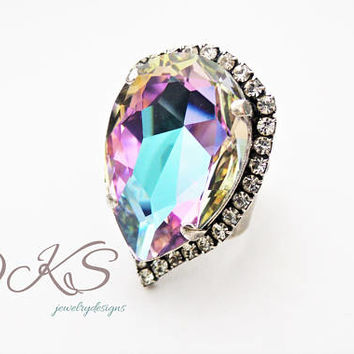 Cotton Candy, Swarovski Statement Ring, Large, Pear, Halo Crystal, Rainbow, DKSJewelrydesigns, FREE SHIPPING
