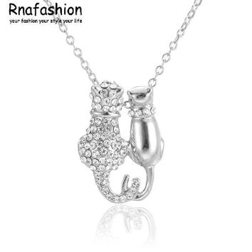 Silver or Gold Tone 2 Cat Lovers Pendant Necklace