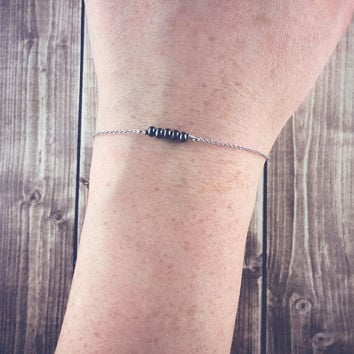 Thin gunmetal bracelet in white gold | Delicate layering bracelet, Dainty chain bracelet, Tiny beaded bracelet, Simple jewelry