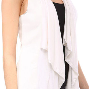 White Vegan Leather Racer Back Vest