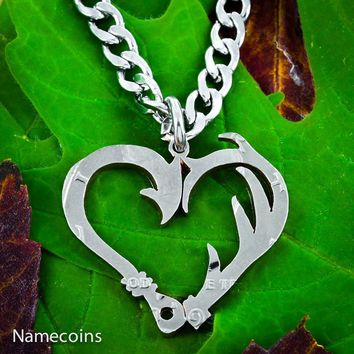 Fish Hook and Antler heart necklace set, Hand Cut Coin by Namecoins
