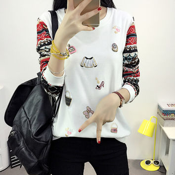 New Autumn Winter Women's Casual Loose Patchwork Long Sleeve T-Shirt Comfortable Tee Gift 197