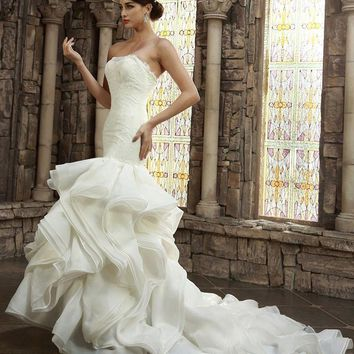 Vintage Strapless Ivory Mermaid Wedding Dress Sleeveless Court Train Ruched Lace up Vestidos de Novias Real picture