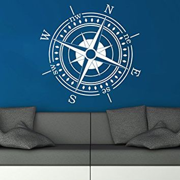 Wall Decal Compass Nautical Vinyl Sticker Decals Navigation Home Decor Art Bedroom Design Interior C82