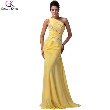 Yellow Blue Purple Long Prom Dress Grace Karin Chiffon Sequin One Shoulder Formal Gowns Elegant Fashion Party Mermaid Dress Prom