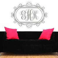 Monogram Wall Decal Vinyl Lettering Family Decor Sticker Custom Decals Personalized Initial Decor Bedroom Nursery Living Room Decor Art ZX15