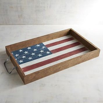 American Flag Wooden Tray