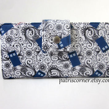 Handmade women bifold white wallet Doctor Who small blue Tardis with black floral swirl - Custom order