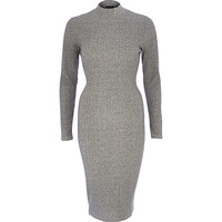 River Island Womens Grey turtle neck ribbed bodycon dress