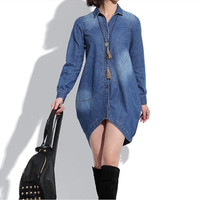 Cotton Denim Shirt Loose Causal Blouse Cotton Dress Jeans Coat Autumn Dress Cowboy Cloth Cotton Denim Dress Denim Outwear