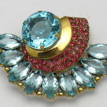 Early HC Sterling Vermeil HATTIE CARNEGIE Rhinestone Brooch - Rare