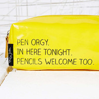Orgies Pencil Case in Yellow - Urban Outfitters