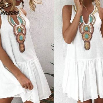 2019 Summer Dress for Women Tribal Printed Sleeveless Boho Mini Dress Female Causal Dresses Loose Bohemian Beach Short