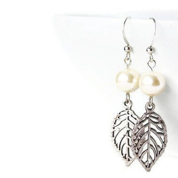 Glass Pearl Earrings with Leaf Charm on Nickel Free Hooks. Simple Earrings. Simple Wedding Jewelry. Bridal Earrings.