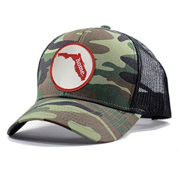 Homeland Tees Men's Florida Home State Army Camo Trucker Hat - Red