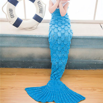 Blue Crocheted Fish Scale Design Mermaid Blanket For Child