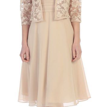 Short Lace Mother of the Bride Formal Dress with Bolero Jacket