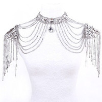Colour bride luxurious necklace chain accessories rhinestone multi-layer crystal shoulder strap gift box set = 1930239812