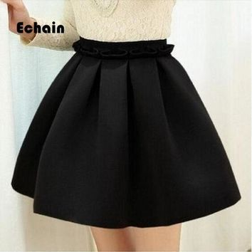 2017 Autumn Skirt Space Cotton Elastic Force High Waist Skirt Pleated Skirts Women Tutu Skirt Saia Polychromatic Casual
