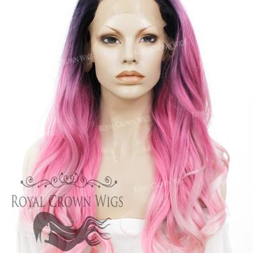 """26"""" Heat Safe Synthetic Lace Front """"Constance"""" with Curly Texture in Rooted Pink Ombre"""