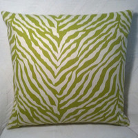 Two Handmade Pillow Covers - Cream and Green Zebra Print - READY TO SHIP