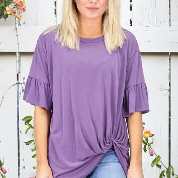 Get Twisted Ruffle Sleeves Modal Top {L. Eggplant}