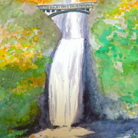 Multnomah Falls Original Watercolor Painting