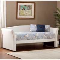 Twin Size Day Bed in White Faux Leather Upholstery