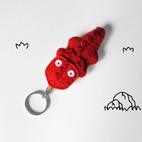 Red Dragon keychain made of felt, fantasy accessory, cute drake figurine, stuffed fantasy creature, gift idea for teens and kids