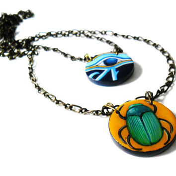 Egyptian Necklace, Scarab Beetle, Eye of Horus Amulet, Hand Painted Egyptian Jewelry, Ancient Egypt Pendant