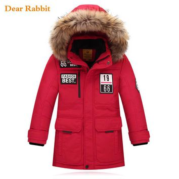 Fashion Children's Jackets Russia winter fur Big boy Coat thick duck Down feather jacket Outerwear cold parka clothes -40 degree