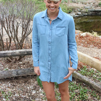 Spring Into Chambray Tunic Dress
