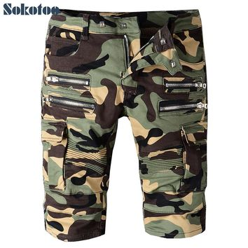 Sokotoo Men's summer camouflage zippers pleated biker jeans for moto Casual pockets cargo pants Denim knee length shorts